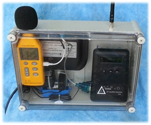 Picture of DISCONTINUED.  REPLACED WITH OUR NEW G-7 AIR QUALITY MONITOR.  Remote Particle Counter and Sound Pressure Level (SPL) Monitor.
